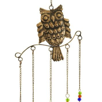 Metal Owl Wind Chime Natural Style With 5 Bells In Colored Beads