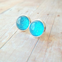 H A W A I I - Bright Teal Ocean Blue Glitter Sparkle Photo Glass Cab Circle Silver Post Stud Earrings