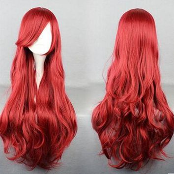 Ariel Red Wig The Little Mermaid Red Wig Body Wave Wavy Wig Cosplay Princess Wig Role Play Costume Accessory