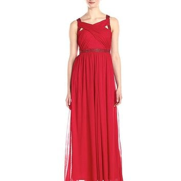Adrianna Papell - Crisscross Bodice  A-Line Jersey Gown 231M62320