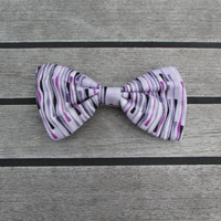 Purple Striped Hair Bow