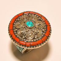 Antique Turquoise, Coral .925 Silver Tibetan Ring