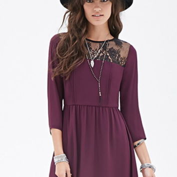 Lace-Paneled Fit & Flare Dress