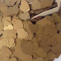 Metallic Gold Heart Wedding Confetti- Vintage Shabby Chic - wedding table decoration, baby shower decoration, table scatters, scrapbooking