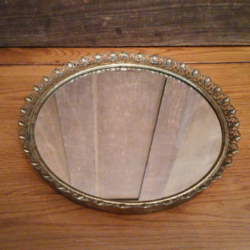Vintage Ornate Gold Toned Round Hollywood Regency Style Mirrored Dresser Vanity Tray
