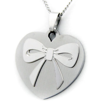 Heart Bow Granddaughter Pendant Necklace