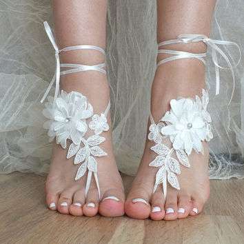 Free  ship barefoot sandals, İvory lace sandals, Daisy lace sandals