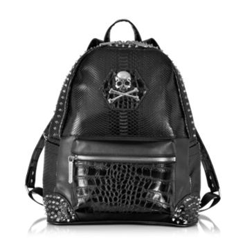 Philipp Plein  Designer Backpacks Small Serious Black Studded Men's Backpack