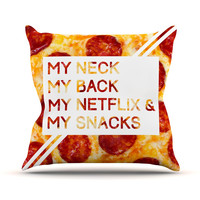 "KESS Original ""Priorities"" Typography Food Throw Pillow"