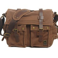 Men Bag Retro Canvas Leather School Briefcase Military Handbags