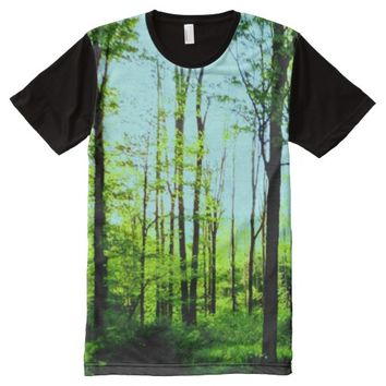 Blue Sky Forest All Over Print T Shirt