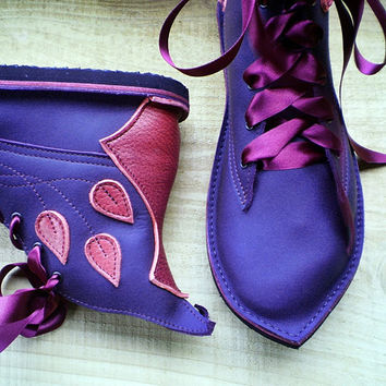 Hand Made Leather Womens Boots, Fairy tale boots, MUSTARDSEED pimpernel by Fairysteps Shoes