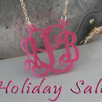 Acrylic Monogram Necklace 1.25 Inch - Pink Color With Gold Plated or Sterling Silver Chain