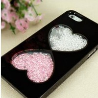 Cute Hearts Design Diamond Case for iPhone 5