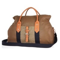 Two-Tone Hybrid Vegan Leather Holdall Bag