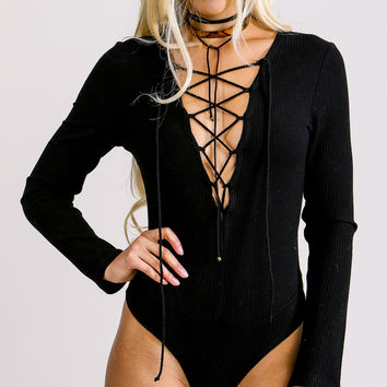 Black Lace Up Bodysuit