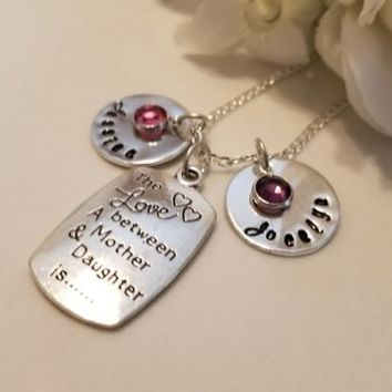 Mother Daughter Pendant Hand Stamped Custom Charm Necklace Gift Personalized
