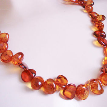 Vintage Baltic Honey Amber Bead Necklace / 44.3 Grams / Jewelry / Jewellery