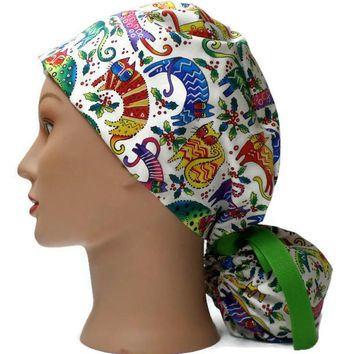 Women's Premium Fabric Ponytail Surgical Scrub Hat Cap in Enchanted Cats