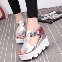 muffin fish head women sandals with platform sandals wild simple shoes shook with students wedges shoes White