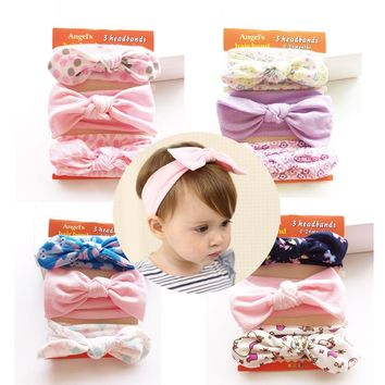 3 pieces/lot New Fashion American Headband Cotton Bow Kids Girls Cotton Bow Headband Kids Hair Accessories 0-2 Years Old