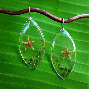 Green Sand Clear See Through Resin Starfish Earrings, resin earrings, starfish jewelry, Sterling silver earrings, green sand beach, Hawaii