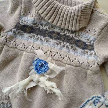 Nordic Sweater Baby Dress. Oatmeal, Blue Whimsical Play Clothes. Winter. Up-Cycled Rustic Country Girls Dress. Tattered Flower. Holiday Gift