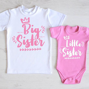 Cute Big Sister Little Sister Shirts. Pink Sister Set. Big and little sister matching outfits. Outfits for big sister and little sister.