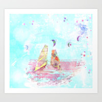 Surfen on Baltic sea Art Print by Tanja Riedel