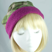 Womens Winter Hat | Pink and Green Plaid Wool | Roll Brim w Fleece Liner | XS to XXL Custom Made to Measure | Warm Winter Cloche