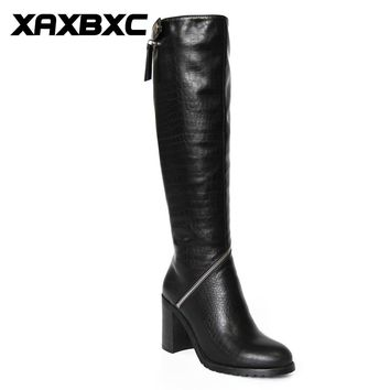 XAXBXC Retro British Style Pu Leather Plush Black Long Boots Women Boots Zipper Thick Heel Round Toe Handmade Casual Lady Shoes