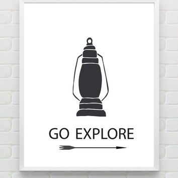 "Printable Nursery Wall Art ""Go Explore"" Instant Download Arrow Kidsroom Print Nautical Print Black and White Digital Wall Art Print"