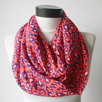 pink neon leopard scarf,infinity scarf, scarf, scarves, long scarf, loop scarf, gift