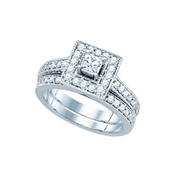 14k White Gold Princess Diamond Solitaire Halo Wedding Bridal Engagement Ring Band Set 1.00 Cttw 81170