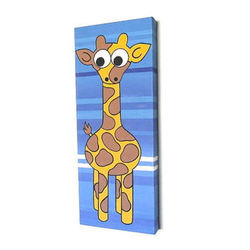Giraffe Art - original acrylic painting of a cute cartoon giraffe on a striped blue background