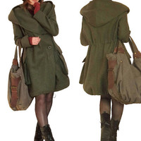 Autumn winter hooded woolen overcoat In Army Green by MaLieb