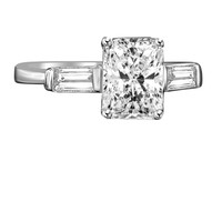 1.25 CT. Intensely Radiant Emerald Shape Diamond Veneer Cubic Zirconia Center (Side Baguette) Classic Style Engagement/Wedding Sterling Silver Ring. 635R72005