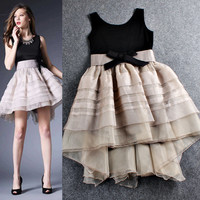 Gray Spliced Sleeveless Bow Waist Tiered Ruched Irregular Hem Dress