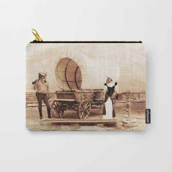 Old West Cowboy Cat and his Gal Carry-All Pouch by gx9designs