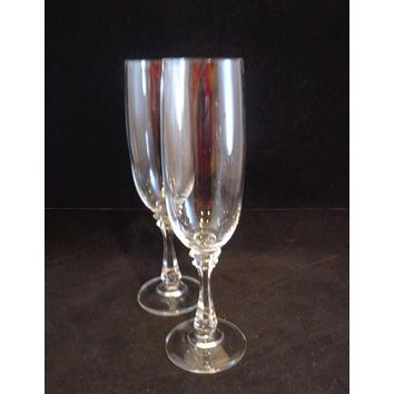 Crystal Champagne Flutes Faceted Stems  S/2