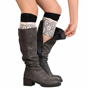 [16054] Knit Boot Cuffs With Lace Overlay