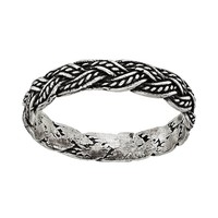 Sterling Silver Braided Ring (Grey)
