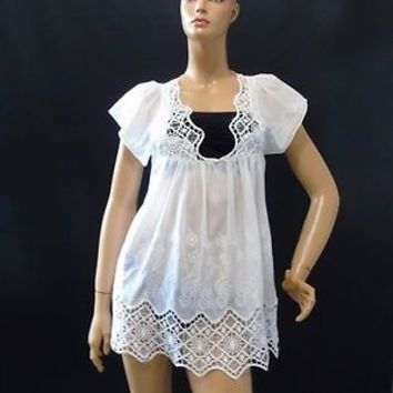 Boston Proper Boho Tunic White Lace Embroidered Cap Sleeve Tie Back Top Sz 8