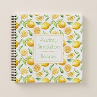 Watercolor Lemons Leaves Square Recipe Book |