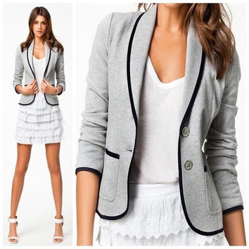 Slim Women Long Sleeve Lapel Casual Tops Cardigan Blouse Jacket Coat Outwear
