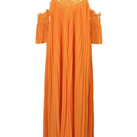 Orange Crochet Panel Cold Shoulder with Open Back Pleated Maxi Dress