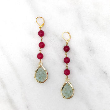 Beaded Teardrop Drop Earrings