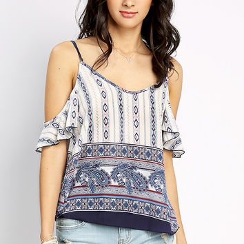 Off The Shoulder Multi Pattern Top