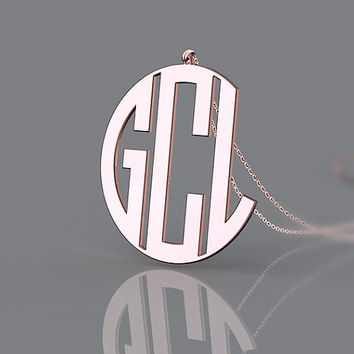 1 inch star style initial monogram necklace plated in rose gold--personalized birthday gift for girls