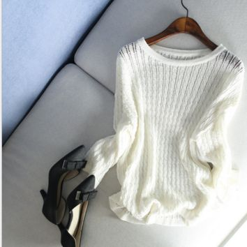Hollow out blouse - loose big yards show thin coat bask - knit unlined upper garment unlined upper garment White